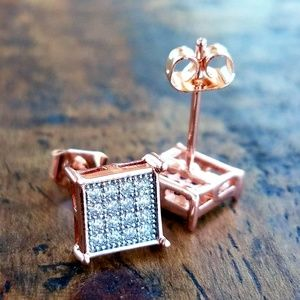 14k Rose Gold Plated Square 32 Stone Earrings